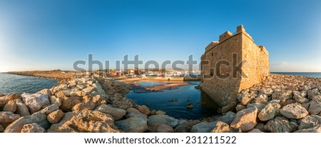 Panoramic view of the Paphos Castle. Paphos District. Cyprus - stock photo