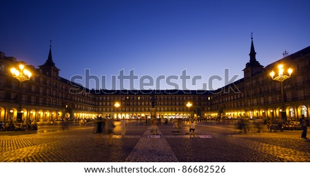 Panoramic view of the Plaza Mayor in Madrid at sunset, Spain - stock photo