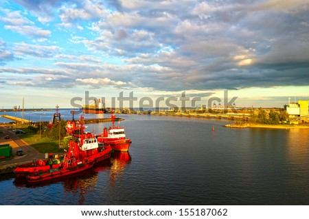 Panoramic view of the port in Gdansk, Poland. - stock photo