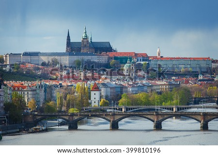 Panoramic view of the Prague castle and Vltava river taken from the Vysehrad castle - stock photo