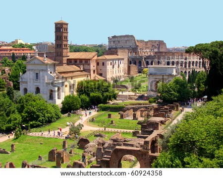 Panoramic view of the Roman Forum - stock photo