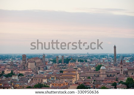 Panoramic view of the roofs of Bologna, Italy, at sunset. - stock photo