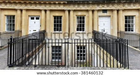 Panoramic View of the Royal Circus in the City of Bath in Somerset England - The Landmark Royal Circus Comprises of Luxury Georgian Era Town Houses - stock photo