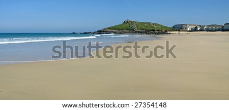 Panoramic view of the sandy Porthmeor beach in St. Ives, Cornwall UK. - stock photo