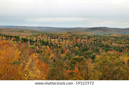 Panoramic view of the scenic Hogback Mountain area in Vermont. - stock photo