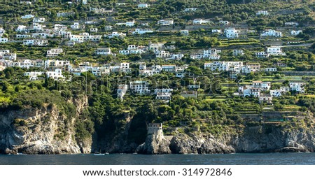 Panoramic view of the scenic town of Praiano on Amalfi Coast in the region Campania, Italy