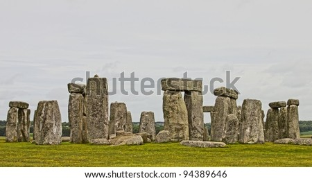 Panoramic view of the Stonehenge, UK - stock photo