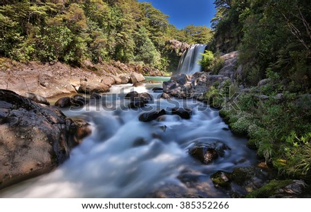 Panoramic view of the Tawhai Falls (Tongariro National Park, New Zealand) - stock photo
