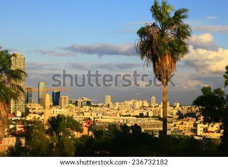 Panoramic View of the Tel Aviv, Israel. Twilight. - stock photo
