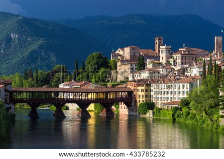 Panoramic view of the town of Bassano del Grappa and its famous wooden bridge - stock photo