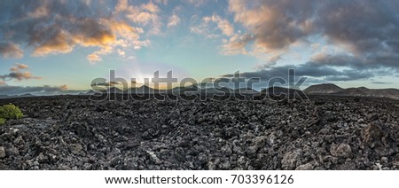 panoramic view of Timanfaya national park with volcanoes