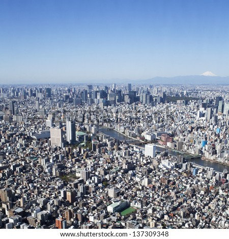 Panoramic view of Tokyo in Japan