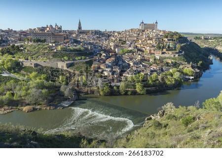 Panoramic view of Toledo (Spain) - stock photo