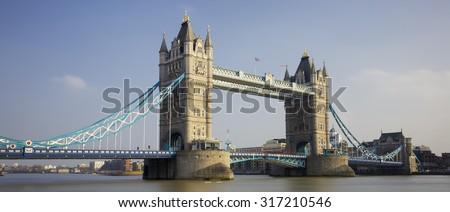 Panoramic view of Tower Bridge, London, UK.  - stock photo