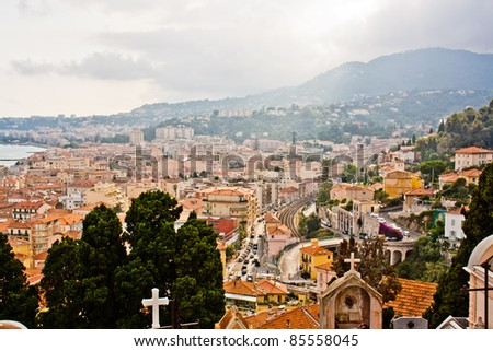 Panoramic View of Town of Menton French Riviera
