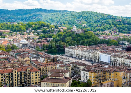 Panoramic view of Turin, a city in Piedmont, Italy - stock photo