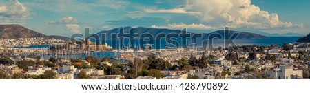 Panoramic view of turkish riviera, luxury vacation in Turkey. Panorama with harbor and beautiful yachts, seascape of marina in Bodrum. Travel on Aegean Sea in summer holidays.  - stock photo