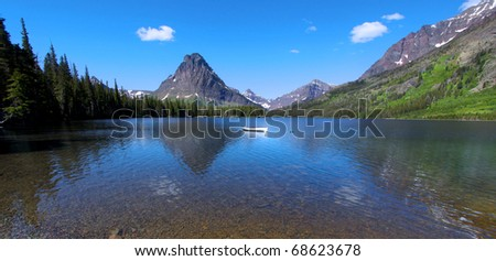 Panoramic view of  Two medicine lake in Glacier national park - stock photo