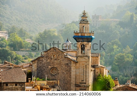 Panoramic view of Valdemossa in Majorka - stock photo
