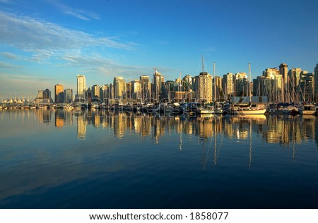 Panoramic view of Vancouver harbor and Stanley Park. More with keyword group14g - stock photo