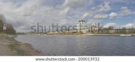 Panoramic view of Velikaya river and Pskov Kremlin - stock photo