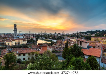 Panoramic view of Verona at sunset in Italy - stock photo