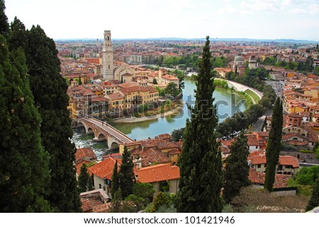 Panoramic view of Verona, Italy (are visible the Old Bridge and the Duomo) - stock photo