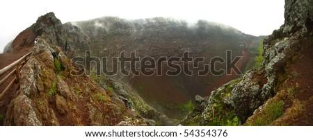 Panoramic view of Vesuvio Volcano crater - stock photo
