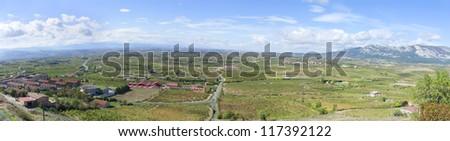 Panoramic view of vineyards in La Rioja - stock photo