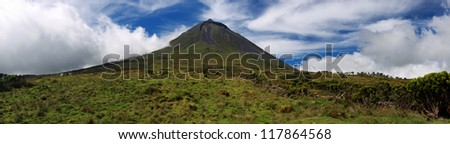 Panoramic view of Volcano Mount Pico at Pico island  Azores