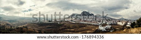 Panoramic view of White village and surrounding countryside. Costa del Sol, Andalucia, Spain - stock photo