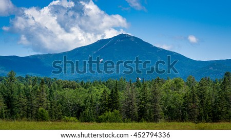 Panoramic view of Whiteface Mountain as seen from Lake Placid in New York State