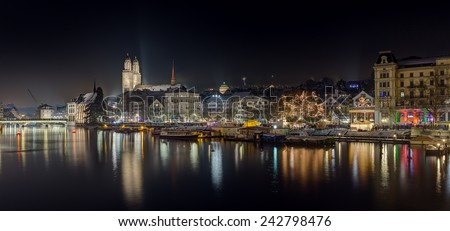 Panoramic view of Zurich at night, Switzerland - stock photo