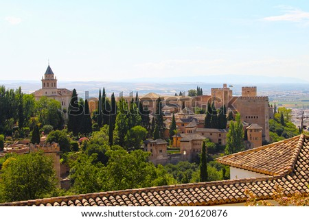 Panoramic view on ancient city of Alhambra - stock photo