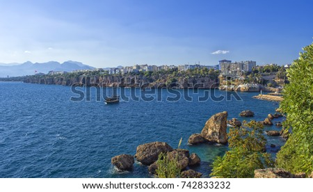 Panoramic view on Antalya city from old town Kaleici. Turkey.
