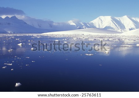Panoramic view on Antarctica mountains - stock photo