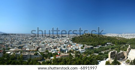Panoramic view on Athens from Acropolis, Greece - stock photo
