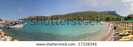 "Panoramic view on beautiful bay in Kemer, Turkey known also as ""Moonlight Beach"". 