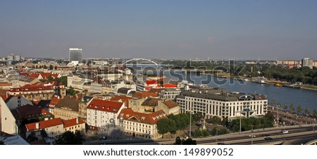 Panoramic view on Bratislava, Slovak Republic - stock photo