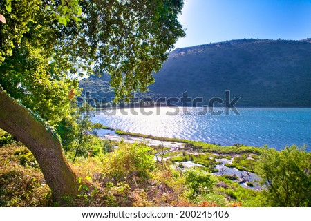 Panoramic view on Butrint lake  in National Park of Butrin, Albania. - stock photo