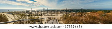 Panoramic view on dunes of the Curonian spit.The Curonian Spit is home to the highest drifting sand dunes in Europe. Their average height is 35 meters, but some attain the height of 60 meters.   - stock photo