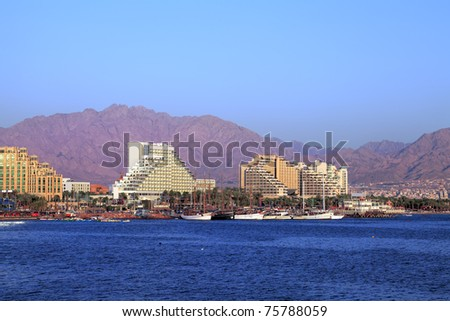 Panoramic view on Eilat (Israel) - stock photo
