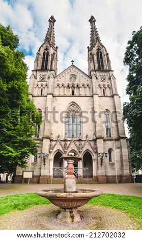 Panoramic view on Evangelist Town Church in Baden-Baden. Europe, Germany  - stock photo