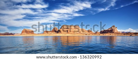 panoramic view on famous lake Powell, Page, USA - stock photo