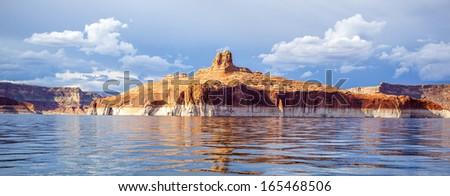 panoramic view on lake Powell, Page, USA - stock photo