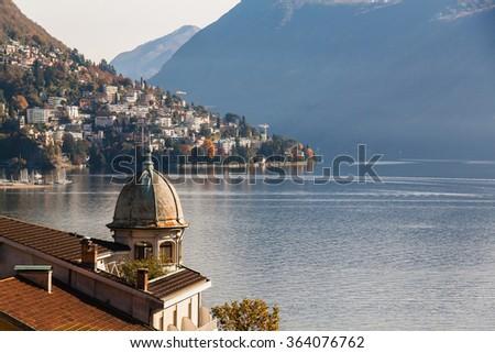 Panoramic view on Lugano lake, Switzerland - stock photo