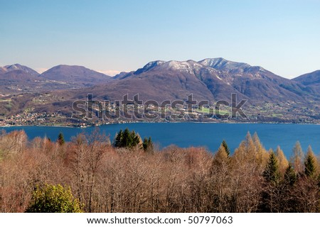 Panoramic View on Maggiore Lake near Cannero, Italy.