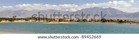 Panoramic view on marine lagoon and Jordan's mountains, Eilat, Israel - stock photo