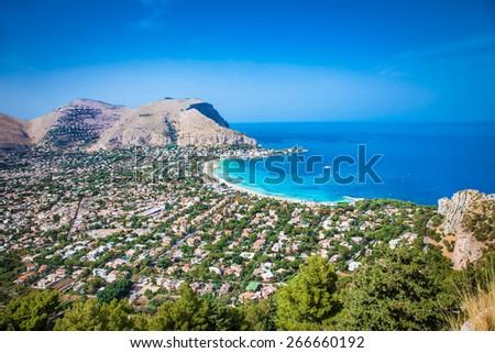 Panoramic view on Mondello white sand beach in Palermo, Sicily. Italy. - stock photo