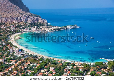 Panoramic view on Mondello white sand beach in Palermo, Sicily. Italy. - stock photo